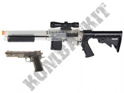 S+W M3000L.E Tactical Shotgun and 1911 Pistol BB Gun Set in Black and Clear